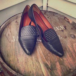 Rebecca Minkoff black studded flats loafers